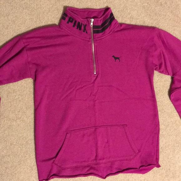 Victoria/'s Secret PINK Slouchy Quarter Zip Black Stripe Sweatshirt Pullover S